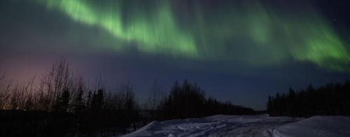 A view of the Northern Lights above a snow covered road