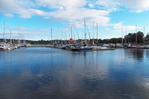 An abundance of boats parked at the marina