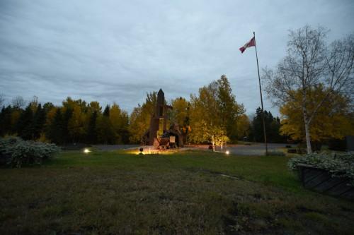 Statue of a Mining Headframe built to honour the Kirkland Lake mine and the history of Kirkland Lake