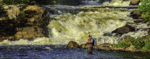 Fisherman standing in the water casting with large rapids in the background