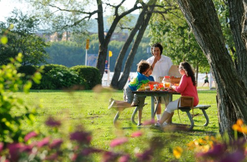 A father, mother, and their two kids enjoying a picnic on a bench in the park