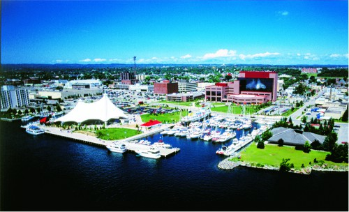 Aerial view of Sault Ste Marie in the summer