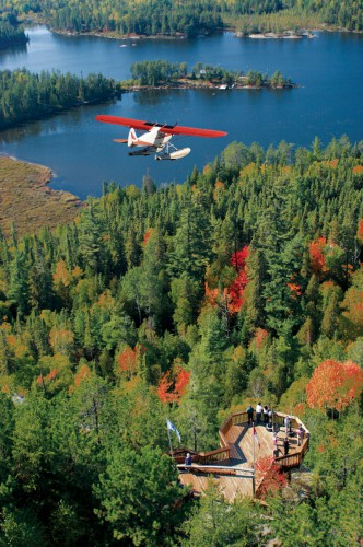 Plane flying over forest to land on the lake in the background