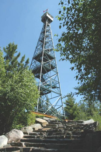 Large lookout tower with ascending stairs