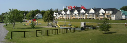 Playground in front of homes in Temiskaming Shores