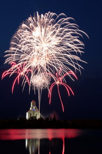 Fireworks going off above the McIntyre headframe